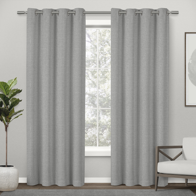 Rideau traditionnel plat, polyester 84 po x 52 po argent