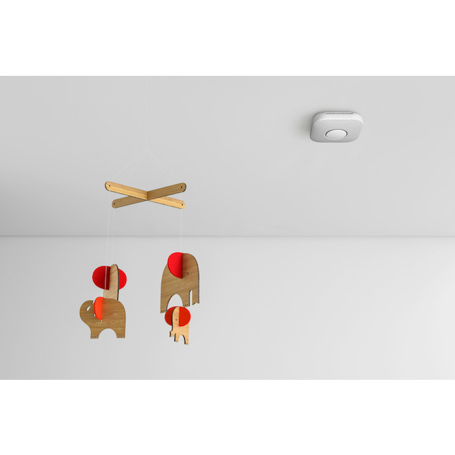 Avertisseur intelligent de fumée et de monoxyde de carbone Nest Protect de Google, câblé, plastique, blanc