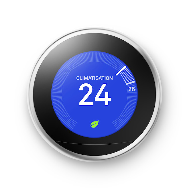 Thermostat intelligent Google Nest 3e génération avec Wi-Fi, inox