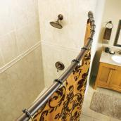 "Curved Shower Rod - Adjustable from 57"" to 60"" - Aged Bronze"
