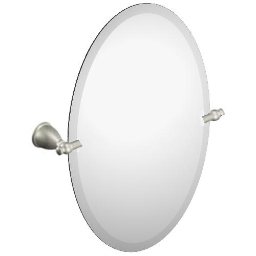 """Miroir ovale Caldwell de Moen, 19"""" x 26"""", métal, nickel brossé"""