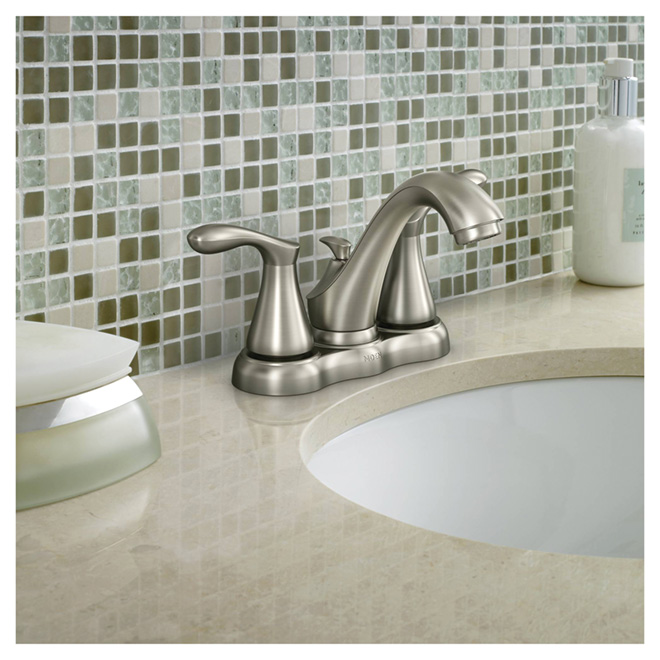 "Bathroom Faucet - 2 Handles - 4"" - Brushed Nickel"