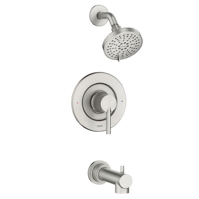 Moen Arlys Spot Resist Brushed Nickel 1-Handle Bathtub and Shower Faucet with Valve