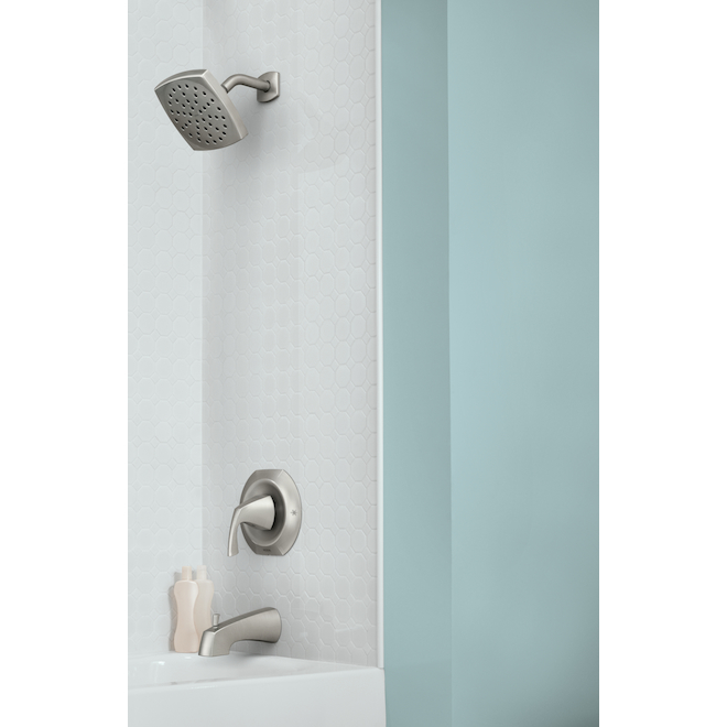 Moen Lindor Spot Resist Brushed Nickel 1-Handle Bathtub and Shower Faucet with Valve