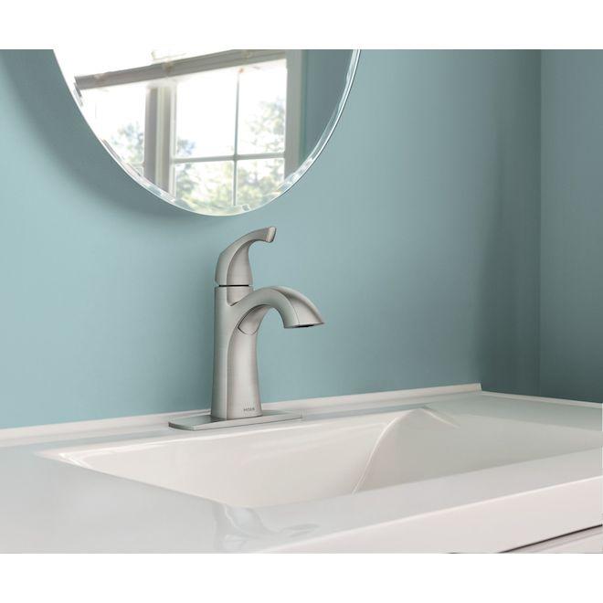 Moen Lindor Spot Resist Brushed Nickel 1-Handle WaterSense Bathroom Sink Faucet