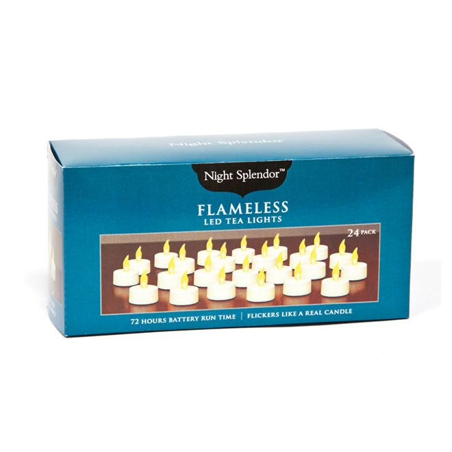 Flameless Tealight Candles - White - 24-Pack