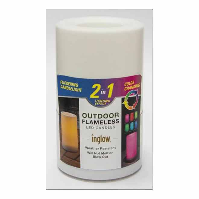 Inglow Flameless LED Candle - Colour Changing - 3-in x 5-in - White
