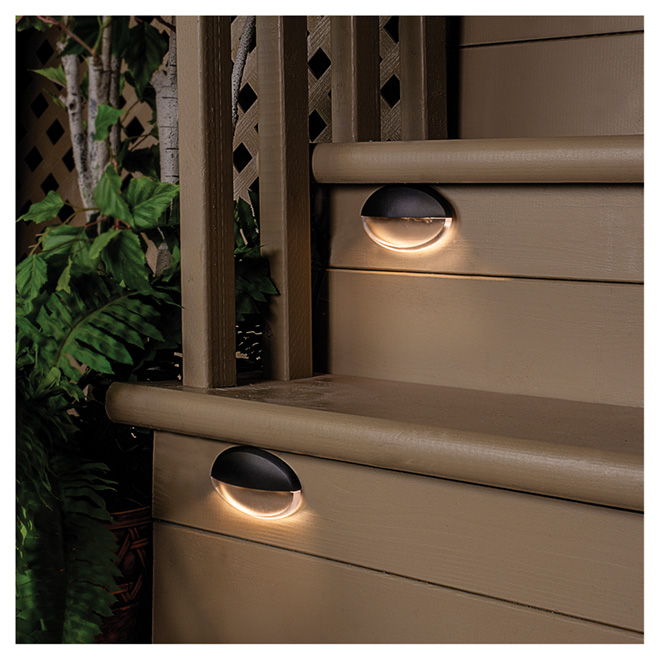 LED Deck Stair Lights   4 LED   4 Pack   Black