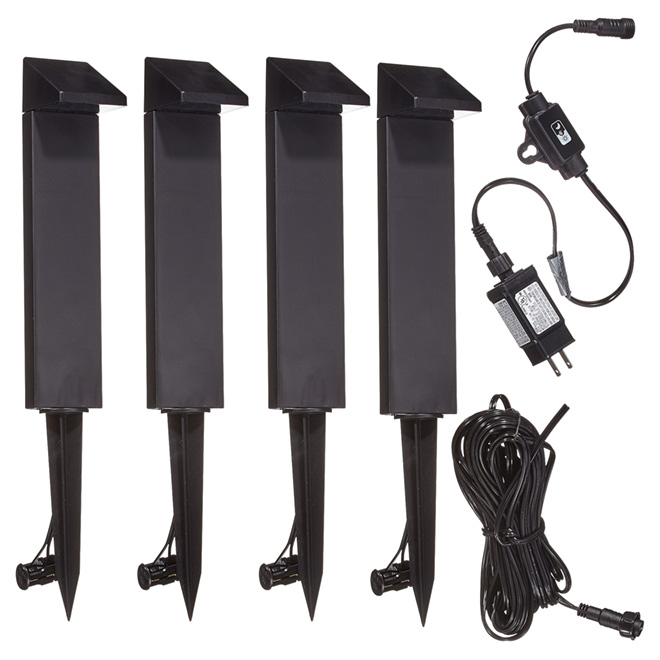 LED Garden Path Lights - 4 LED - 7 Pieces - Black