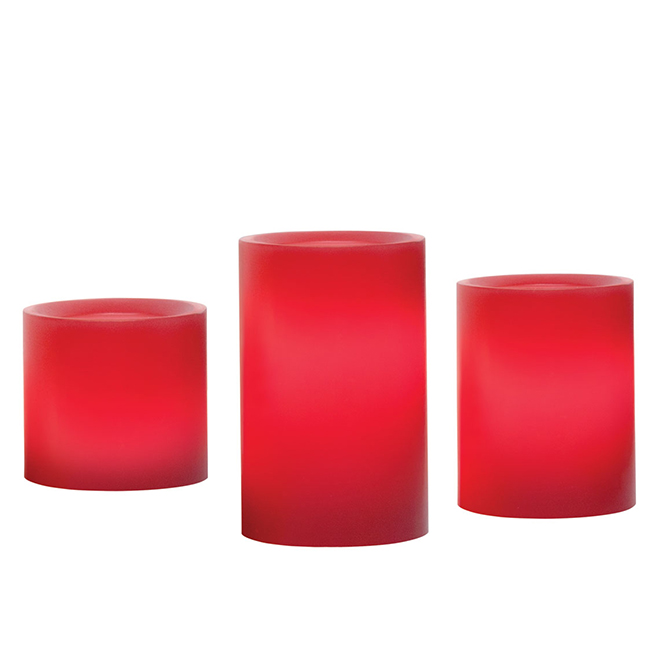 Set of 3 Candles - Artificial Flame - Wax - Red