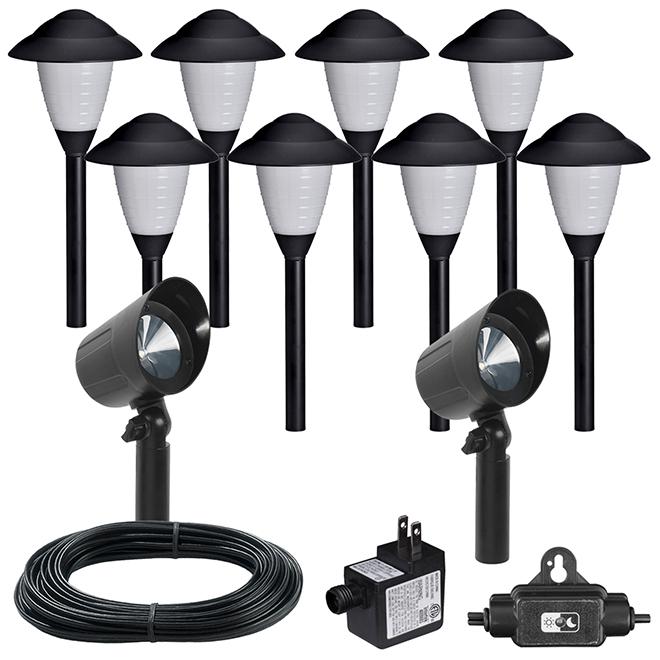 Lumières et projecteurs de jardin, 8 lumières DEL, noir