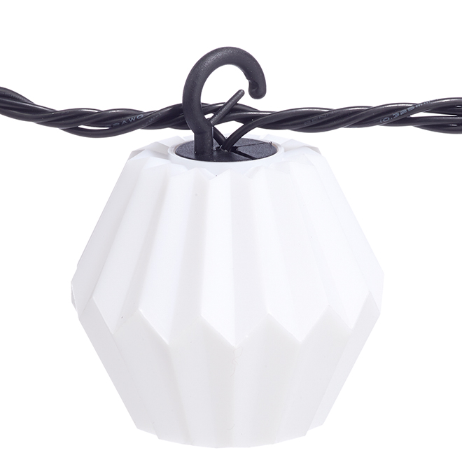 Jeu de 10 lumières sur fil, origami, blanc