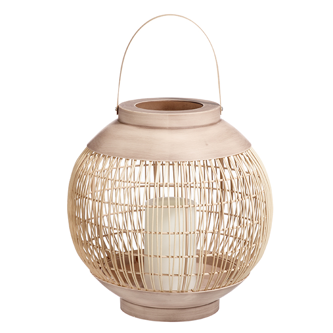 Basket with Flameless Candle - 12'' - Sand