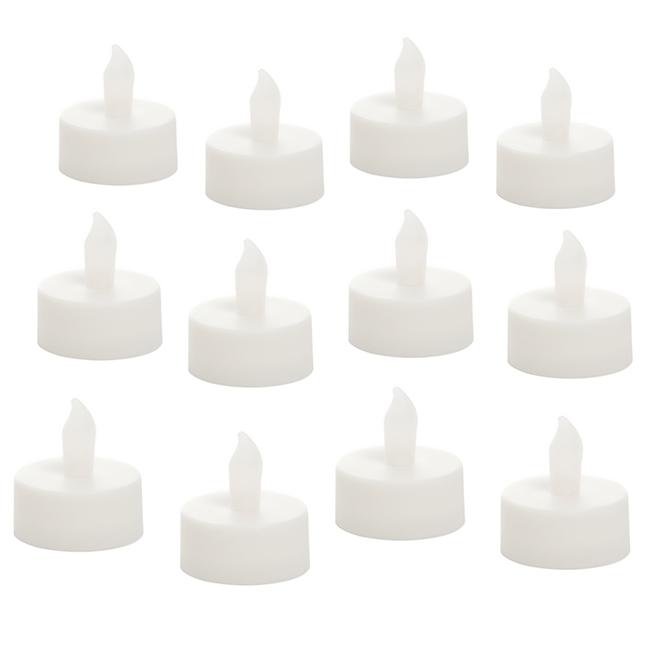 Flameless Tea Lights - White - Pack of 12