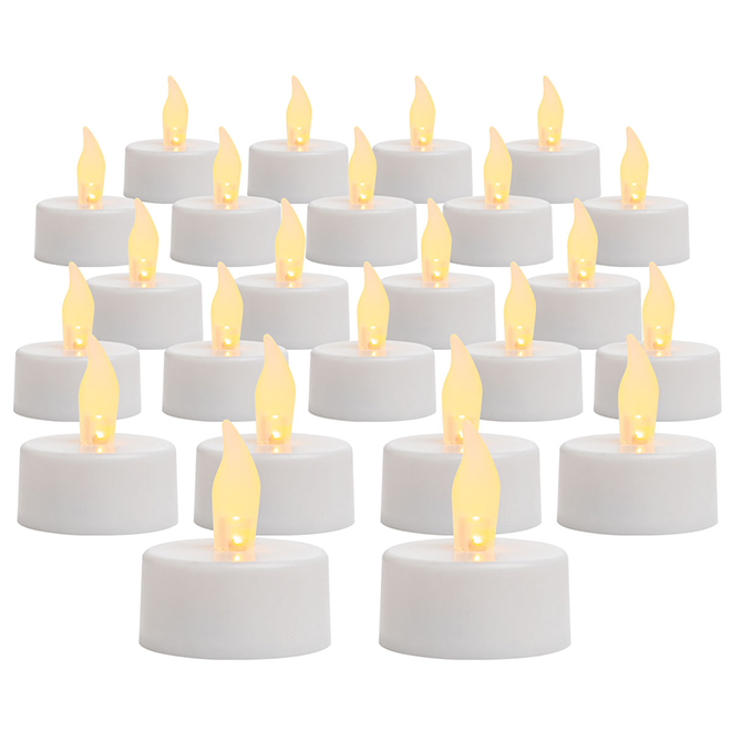 Flameless Tea Lights - White - Pack of 24