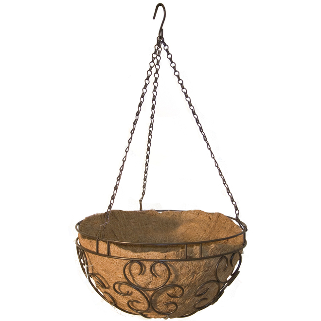 "Hanging Steel Basket - Coco Liner - 14"" - Brown"