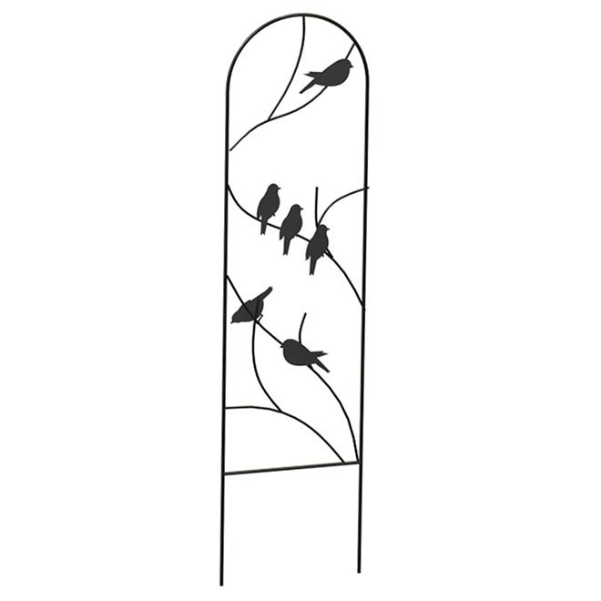 """Treillis décoratif, oiseaux perchés, 10"""" x 40"""", noir"""