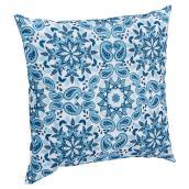 Coussin décoratif pour patio, Kingsbury, blanc/bleu