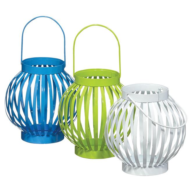 Candle Lantern Set - White/Blue/Green - 3 Pieces