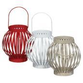 Lanternes à bougie, rouge/blanc/taupe, ensemble de 3