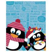 """Jeté des Fêtes, pingouins, polyester, 48"""" x 60"""", multicolore"""