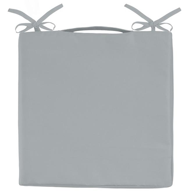 """Coussin pour chaise de patio, polyester, 15"""" x 15"""", gris"""
