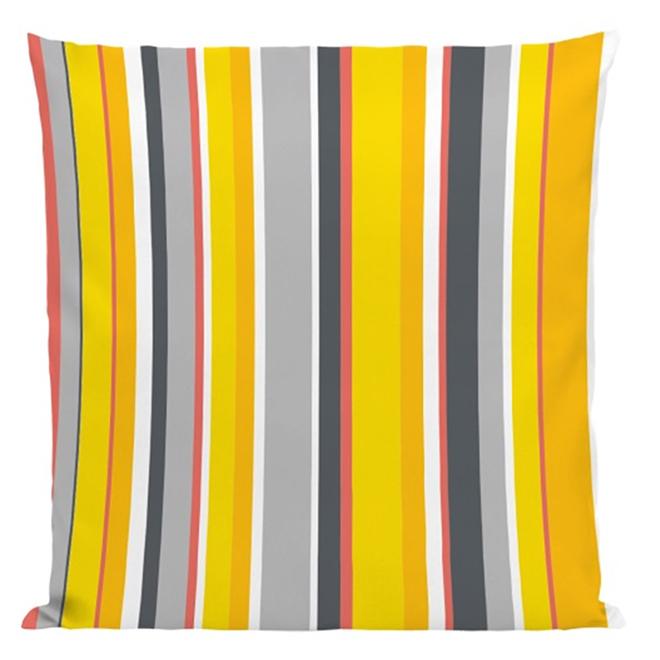 """Coussin décoratif pour patio, 17"""" x 17"""", rayures jaunes"""
