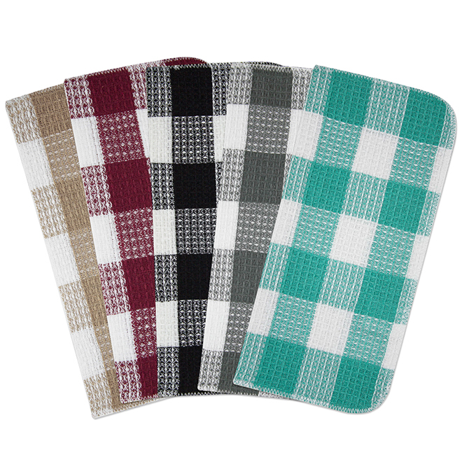 5-Pack Cotton Dishcloths - 14'' x 15'' - Assorted Colours
