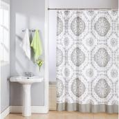 "Polyester Shower Curtain with Hooks - 70"" x 72"" - Taupe Lace"