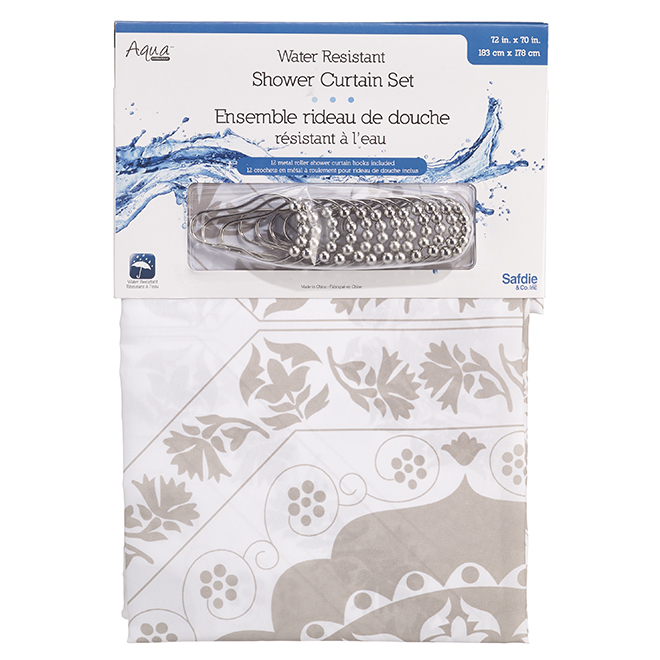 """Rideau de douche en polyester et crochets, 70"""" x 72"""", taupe"""