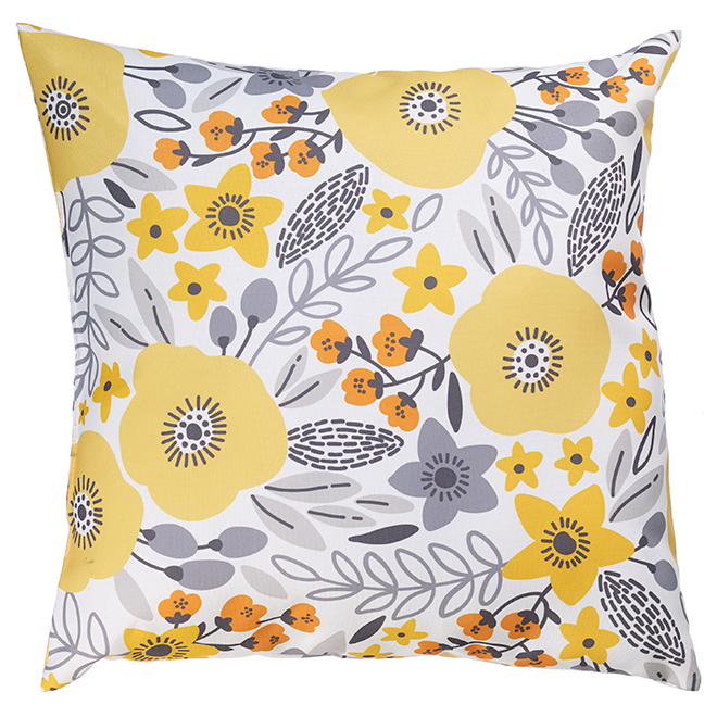 """Coussin décoratif pour patio, polyester, 17x17"""", fleurs jaunes"""