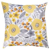 "Decorative Patio Cushion - Polyester - 17x17"" - Yellow Flowers"