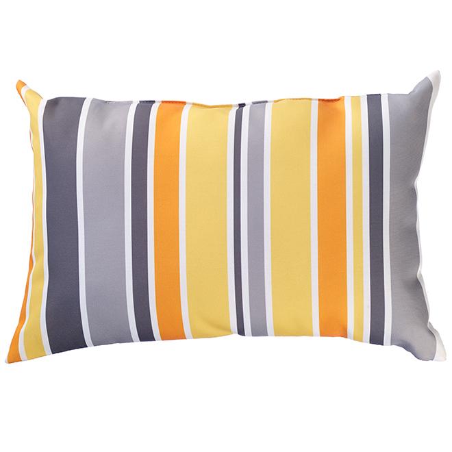 """Coussin décoratif pour patio, polyester, 12x18"""", bandes jaunes"""