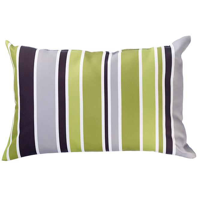 """Coussin décoratif pour patio, polyester, 12x18"""", bandes vertes"""