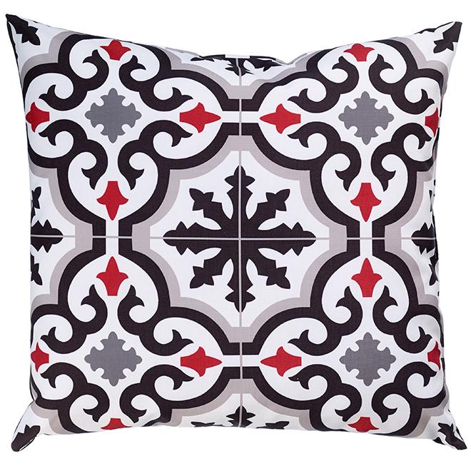 """Coussin décoratif pour patio, polyester, 17x17"""", noir et rouge"""