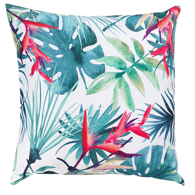 "Decorative Patio Cushion - Polyester - 17x17""- Leaves/Deco"