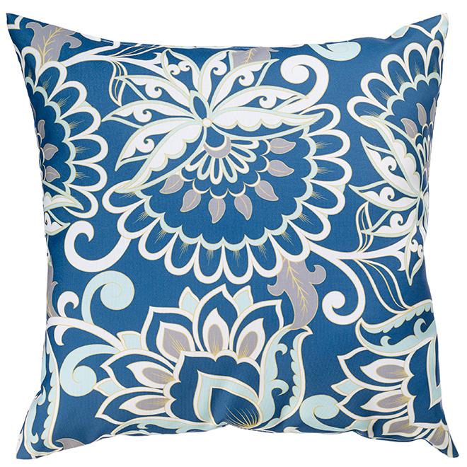 """Coussin décoratif pour patio, polyester, 17x17"""", fleurs/bleu"""