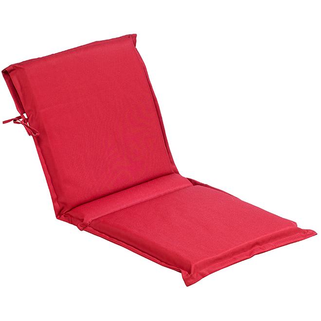 """Coussin de chaise avec dossier, polyester, 19 x 49 x 2"""", rouge"""