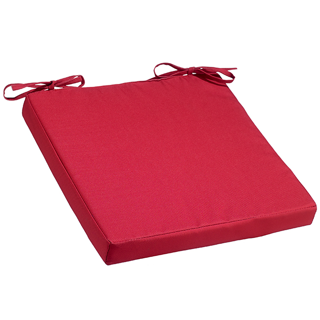 Seat Cushion - Polyester - 15-in x 15-in x 1.75-in - Red