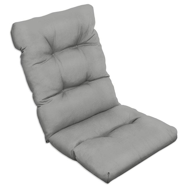 """Coussin de chaise, polyester, 47"""" x 20"""" x 4"""", gris/rayé"""