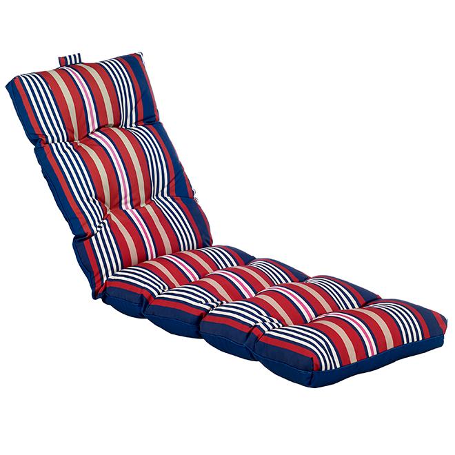 """Coussin de chaise longue, 70 x 22 x 4,5"""", rayé/bleu"""