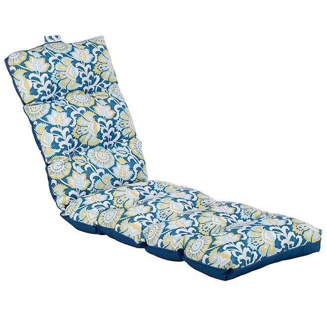 """Coussin de chaise longue, 70 x 22 x 4,5"""", fleurs/bleu"""