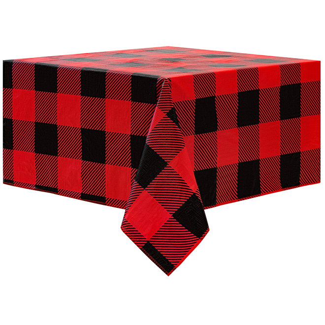 "Tablecloth - PEVA - 60"" x 84"" - Plaid - Red"