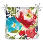 Coussin carré, motif aquarelle floral, 17'' x 4''