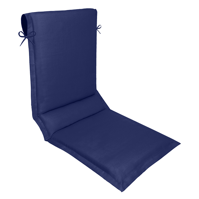 Coussin à haut dos réversible, polyester, 19 x 49 po, bleu