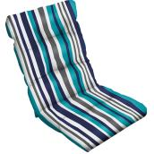 High Back Cushion - Polyester - 47-in - Striped/Solid Aqua
