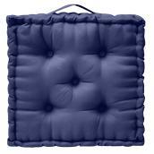 Coussin extérieur carré, polyester, 20 po x 4 po, bleu