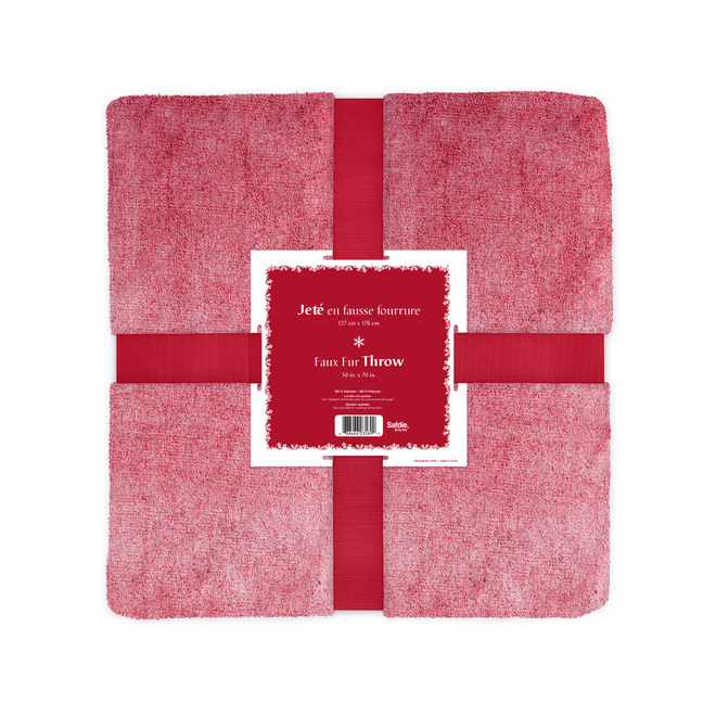 Holiday Living Frosted Christmas Throw - 50-in x 60-in - Red