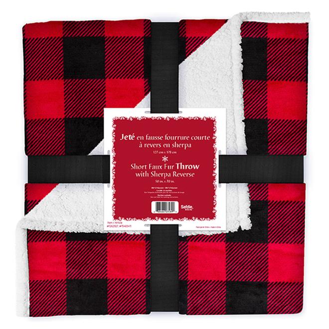 Jeté de Noël Holiday Living, Buffalo, 50 po x 60 po, rouge et noir