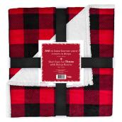 Holiday Living Christmas Throw - Buffalo - 50-in x 60-in - Red and Black